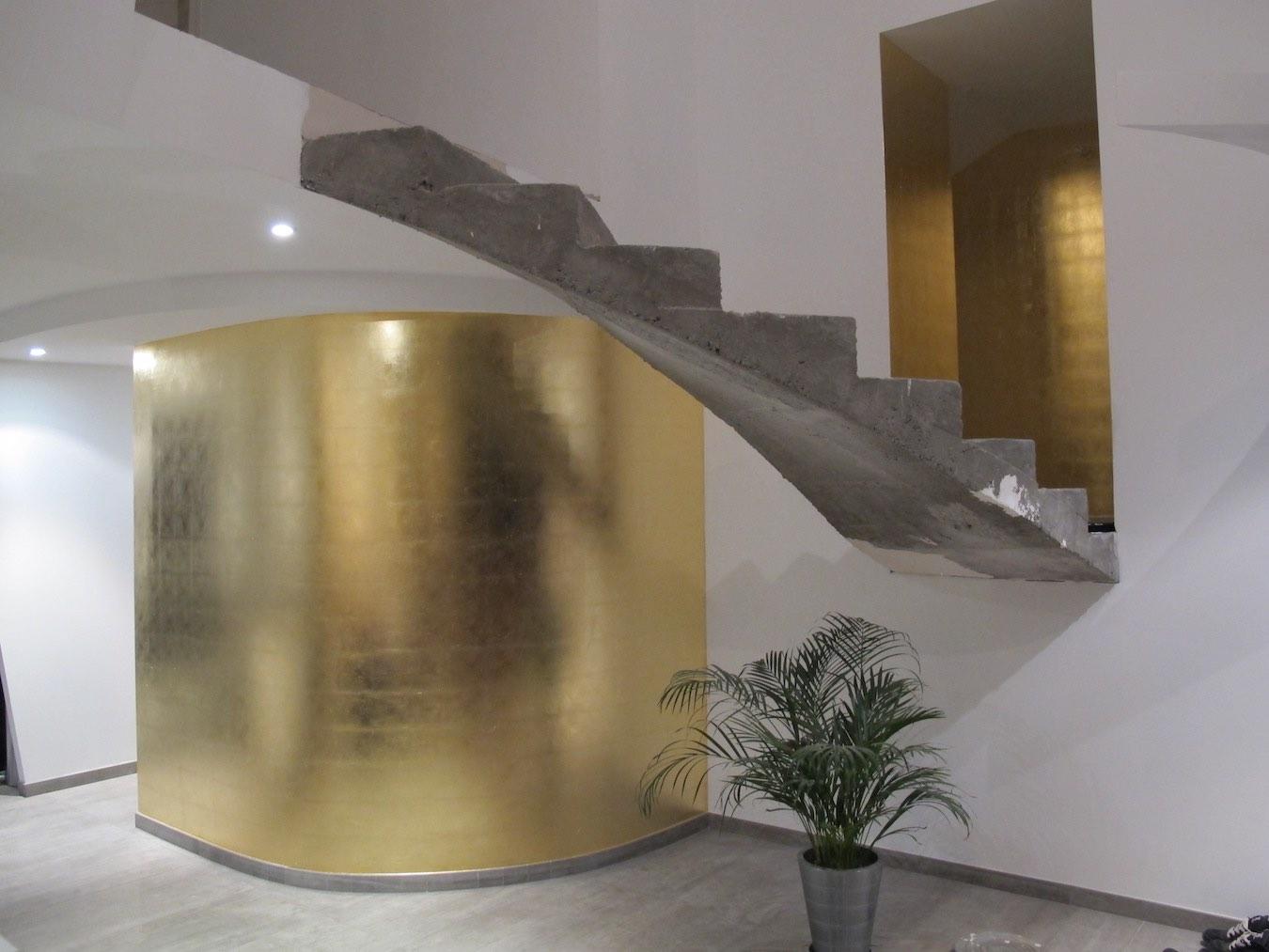 dorure feuille de cuivre sur murs paris et maison de. Black Bedroom Furniture Sets. Home Design Ideas