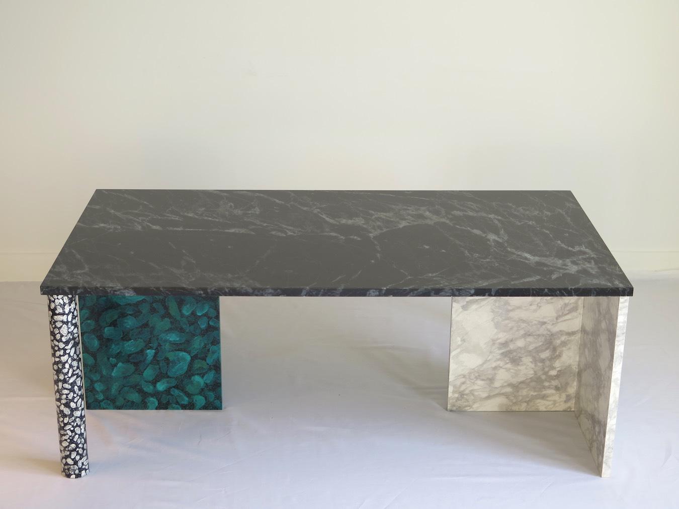 table basse customis e avec faux marbre et faux terrazzo studio julien gautier. Black Bedroom Furniture Sets. Home Design Ideas