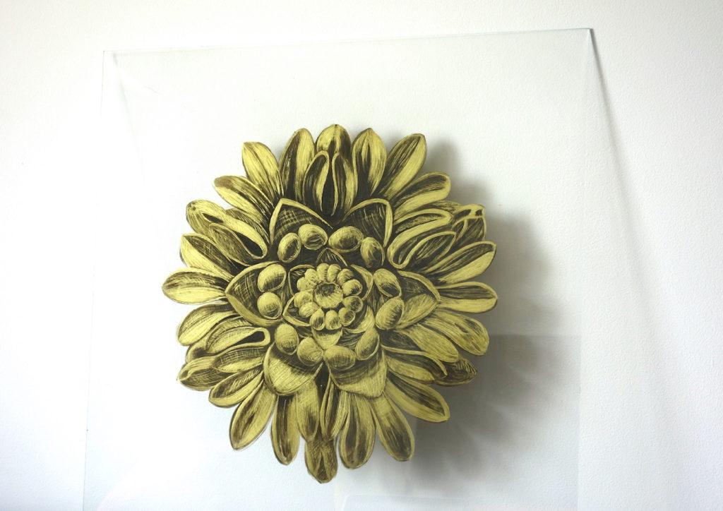 peinture sous verre ornement doré et églomisé