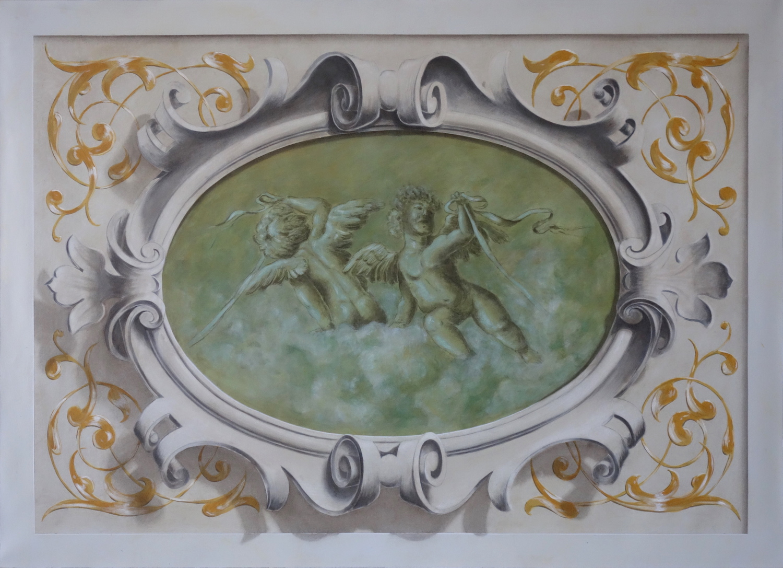 Cartouche trumeau en trompe l'oeil peint avec angelots et ornements
