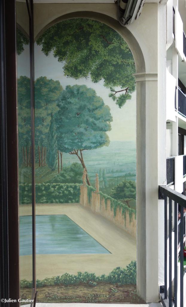Trompe L Oeil Mural Peint Avec Paysage Peinture Min 233 Rale